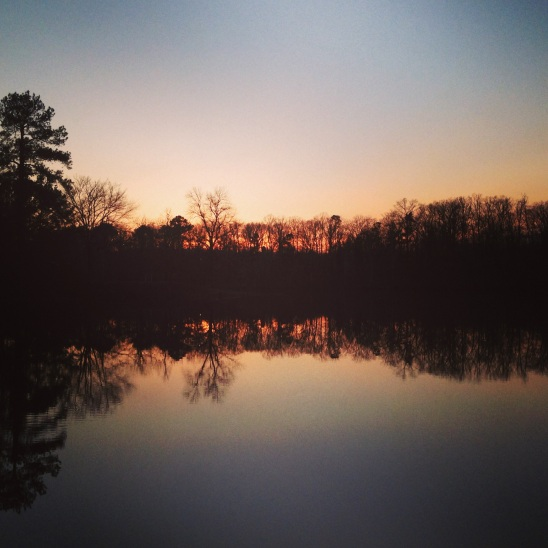 The sun setting on Christmas Eve on Pennington Lake where my parents live.  Photo Credit: Keith Bordeaux