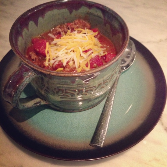 Yummy bowl of Caveman Chili ready to eat!