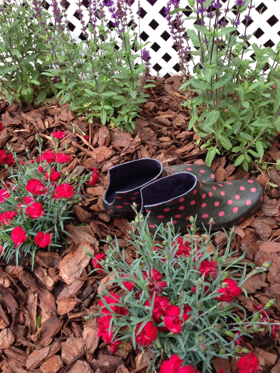 "Target rainboots circa 2002 turned ""up-cycled"" garden clogs circa May 2013.  Love a quick DIY project!"
