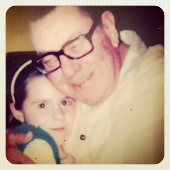 My favorite photo of me with my grandfather, George Wilhelm Christophersen.