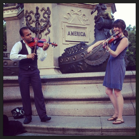 Busking on the street with Victor, the wandering violinist, outside the opera house in Manaus.