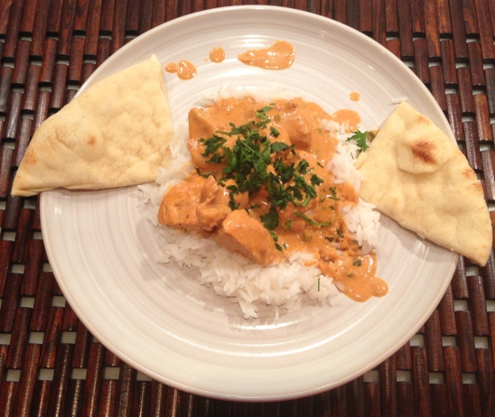 Served on top of thai rice, garnished with fresh cilantro and a side of naan.  One of my favorite home-made meals to date.