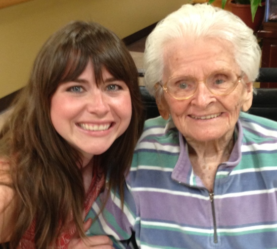 Me visiting Granny at the nursing home last month.  All the nurses seem to think we look alike.
