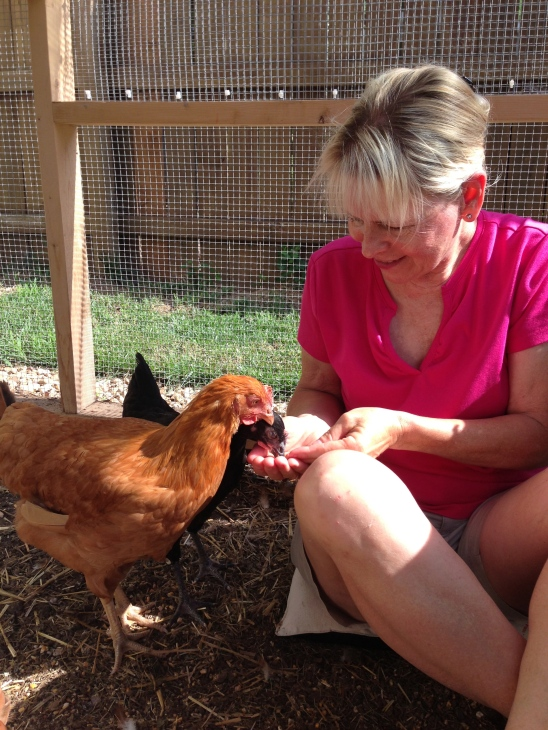 Mom wins Jane's affections by treating her to some dried mealworms.