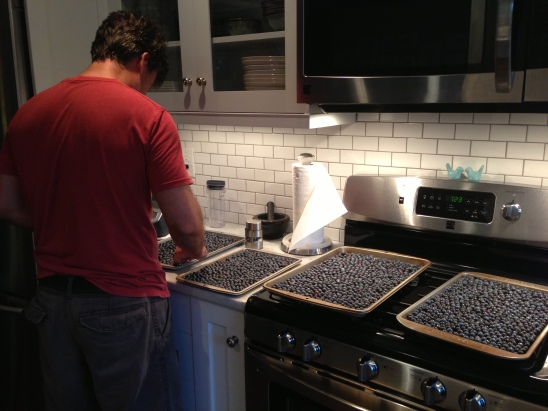 Keith does some quality control on our second round of berries.