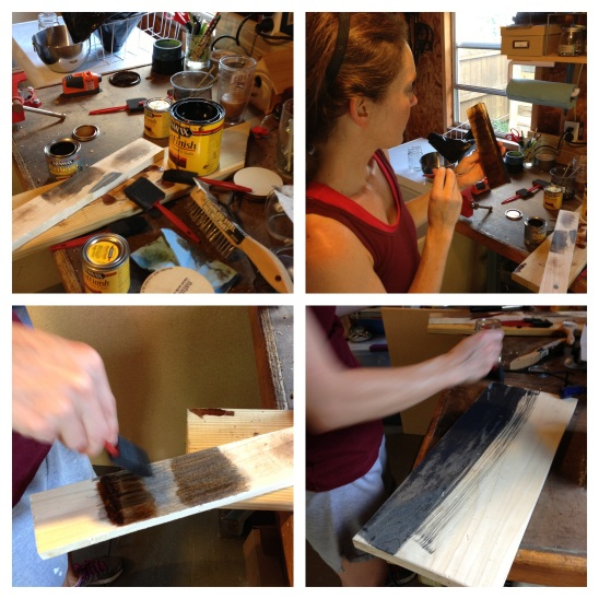 Amy experiments with stain color and technique and then paints her shelf (bottom right corner photo).