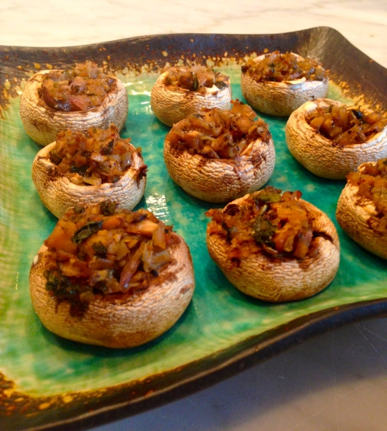 Stuffed Shrooms.  Sooo yummy.  Get 'em while they're hot!