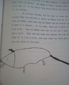 "Another illustration and part of the typed story, ""About A Possum We Have."""