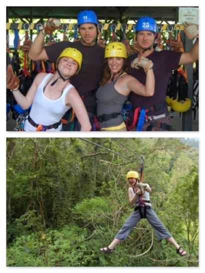 Top L to R: Me, Shack, Alexis and Keith all suited up for some adventure...and below...I let er rip...or zip...through the jungle canopy.