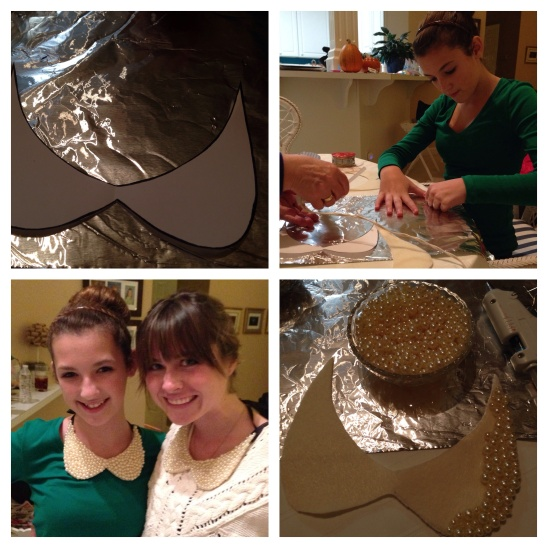 The necklace-making process and a shot of the finished product.  Isn't my sweet Emmy so beautiful?