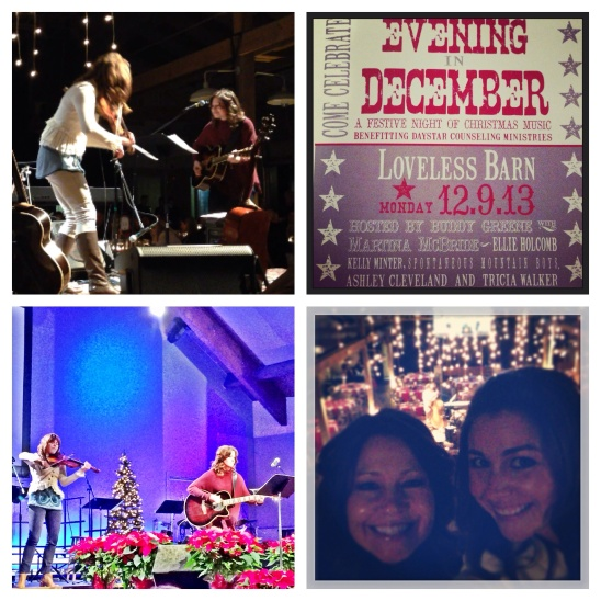 Clockwise from top Left...jamming onstage at An Evening In December, the concert poster, Kelly and I geeking out in the balcony, and playing onstage at an event in New Jersey.  Not a shabby December at work!