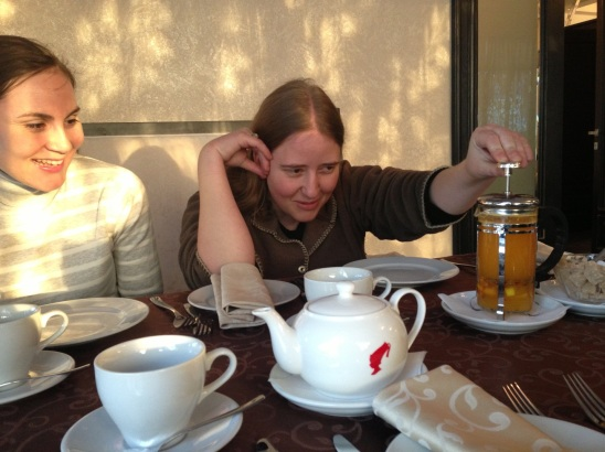 Tasting an herbal tea made from a special Russian berry
