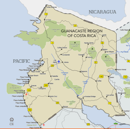 Just to help you see where we were, here is map of the Guancaste region.
