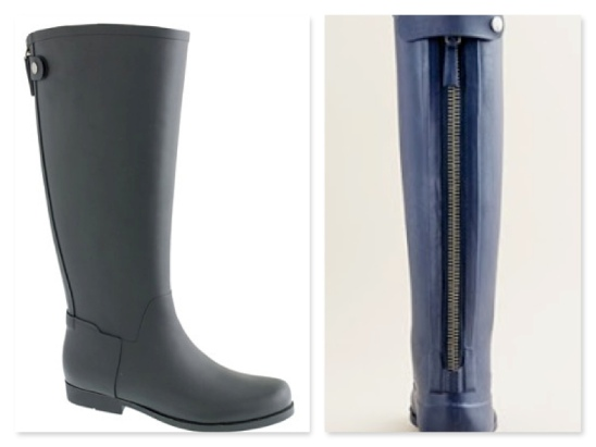 The JCrew Weatherby rainboot.  Love the stylish yet useful look...and they fit great with or without a liner!