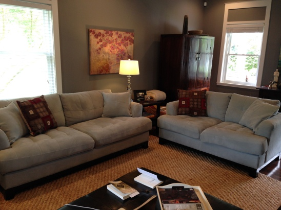 Our light blue couch and loveseat.  I sure did love them!!!