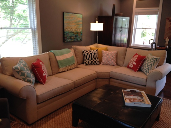 Our new Pearce sectional and it's throw pillow friends.  So thrilled with our new set-up!