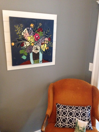 My happy painting and my favorite chair.  The perfect nook.