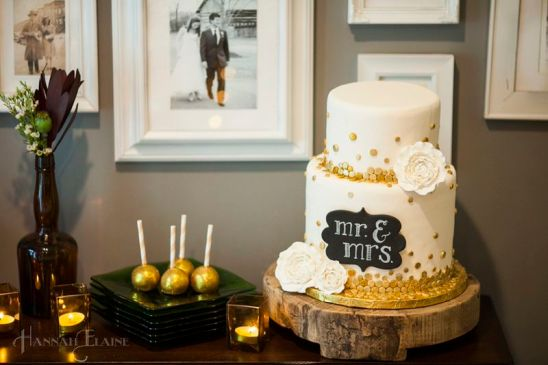 Cake balls and wedding cake by Frosted Affair. I love that the photo on the wall behind the cake is an actual wedding photo that Hannah shot over 4 years ago at my wedding!