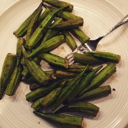 Okra.  One of my favorites!  Cut the stem-ends off 1 pound of small okra pods.  Sautee on high medium-high heat for 6 or 7 minutes in 2 tablespoons of olive oil.  Season with ground red & black peppers and salt to taste.  Delish!