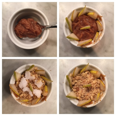 Clockwise from Top Left corner.... 1. spooning in the puree 2. adding the apple slices 3. adding the nut topping 4. adding the un-melted coconut oil clumps.