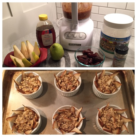 Start to finish!!!  Ingredients lined up and ready to go....and then 6 Mini Paleo Pear-Date Bakes hot and fresh out the oven!