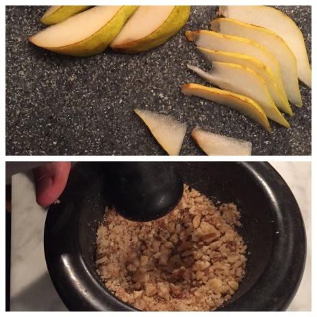 Close-ups of pear slices and crushing the walnuts.